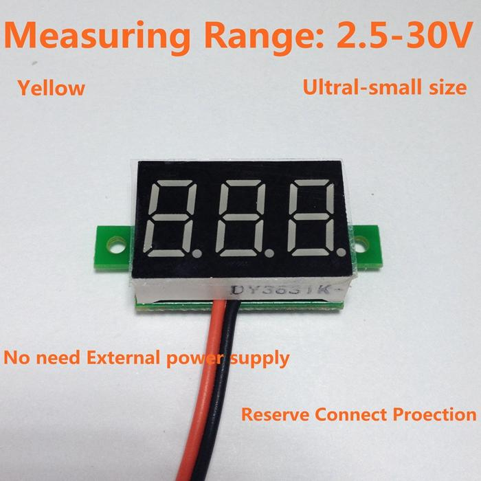 5PCS/LOT Drop shipping Yellow Led display DC 2.5-30V car digital volt voltage panel meter gauge auto voltmeter battery monitor(China (Mainland))