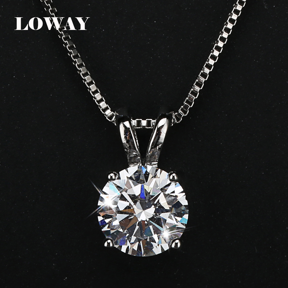 LOWAY Classic Permanent 2 Carat Solitaire Hearts and Arrows Cubic Zirconia Pendant Necklace Fine Jewelry for