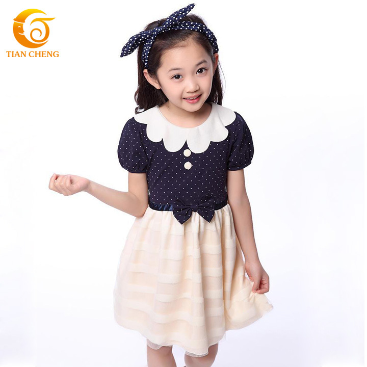 2015 Summer Wine Red Big Girls Robe Enfant Fille Cotton Lace Bow Princess Dress Lotus Collar Robe Fille Vetement Enfant(China (Mainland))