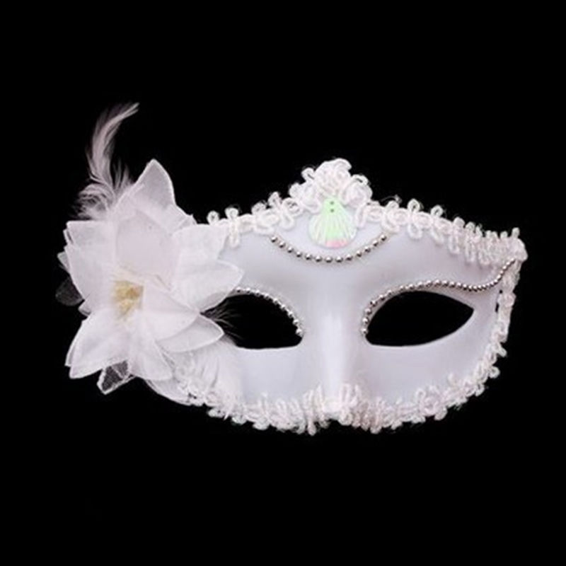 Free Shipping 2016 Hot Sale White Flower Feather Venetian Masquerade Ball Halloween Carnival Party Eye Mask Wholesale(China (Mainland))