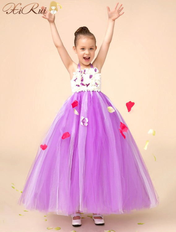 EMS DHL Free shipping Purple Flower Girl Dress Vintage Satin Sashes Chiffon Tulle Girls Holiday Dress For Wedding Party Birthday(China (Mainland))
