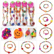 Wholesale Lot 12Sets Wooden Bead Cute Kid Child Necklace Bracelet Jewelry Set Butterfly Heart Shape Children Bracelet Free(China (Mainland))