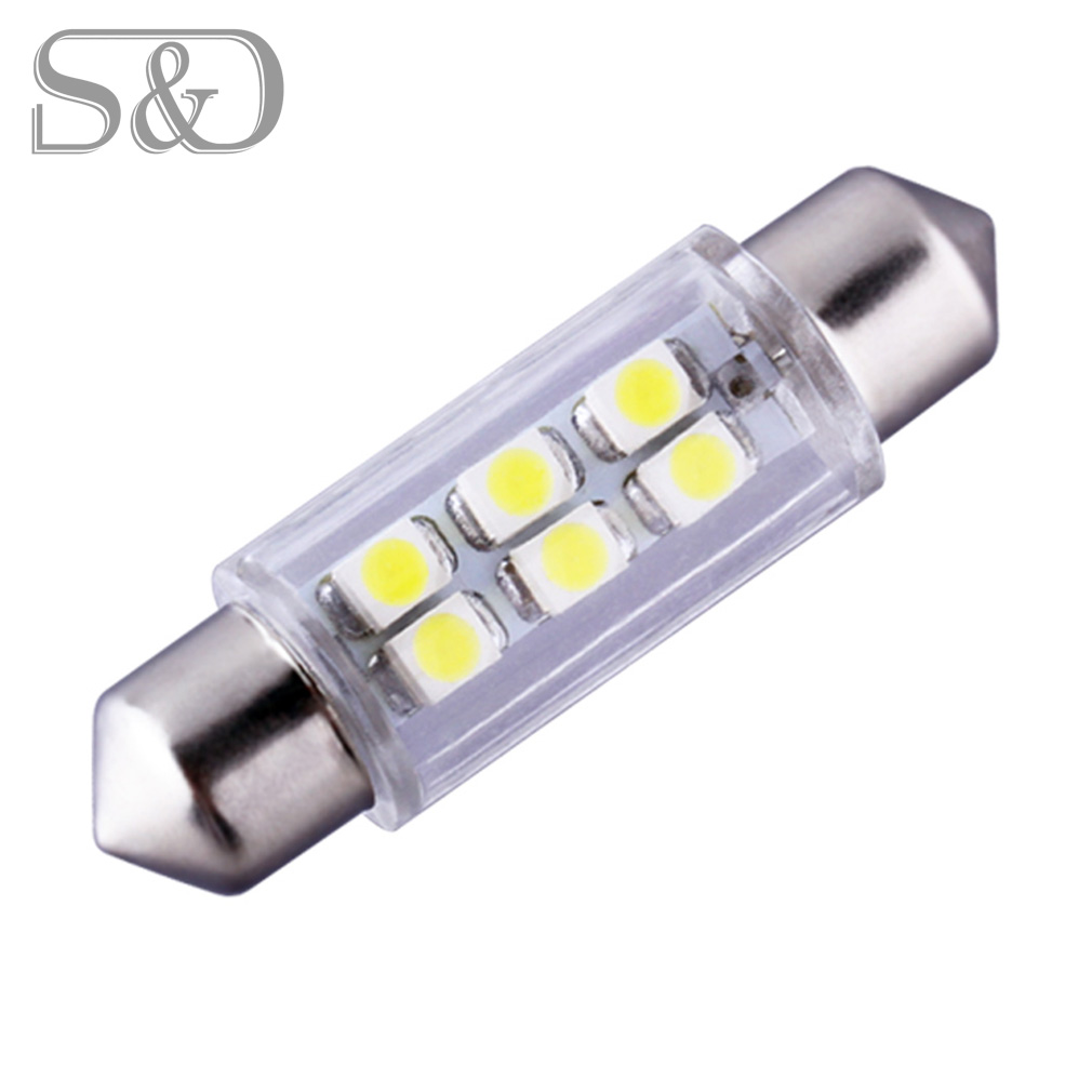 39mm 6 smd white dome festoon led bulb lamp parking 12v auto c5w led car bulbs interior lights. Black Bedroom Furniture Sets. Home Design Ideas