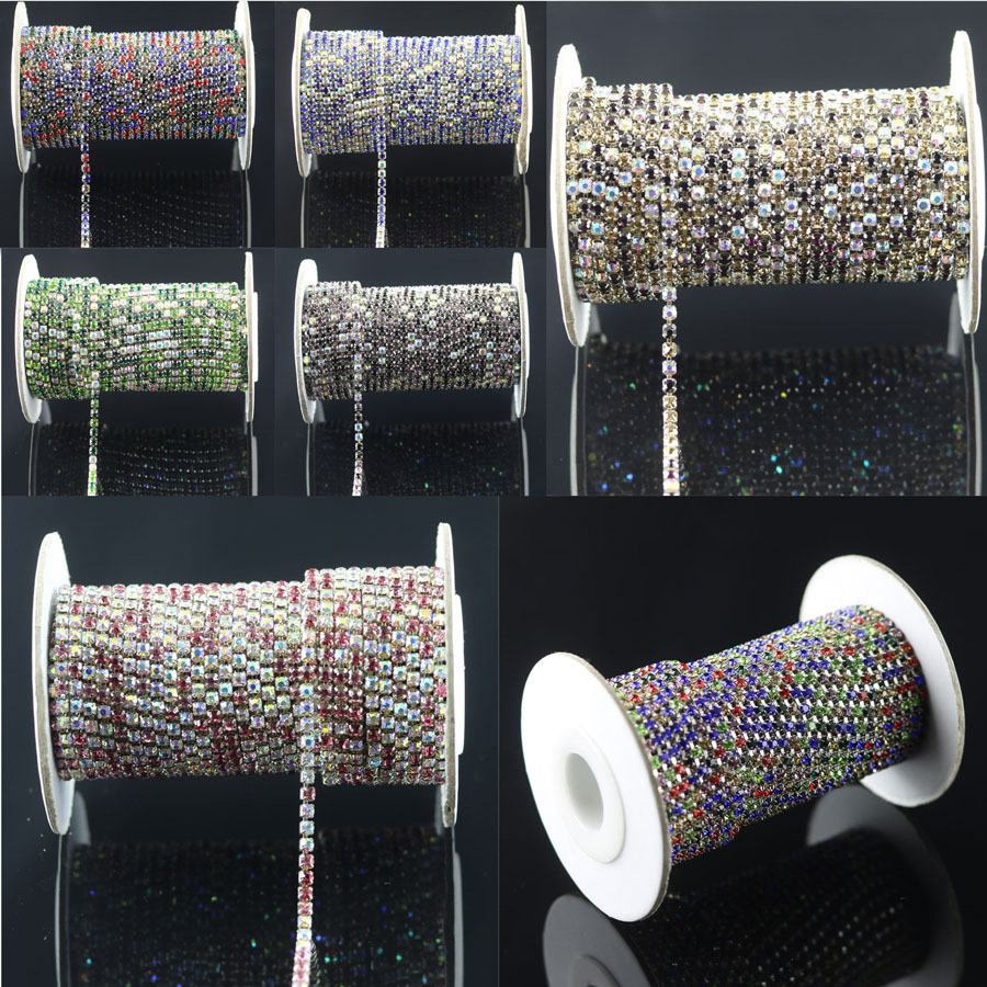 2yards SS10 2.6mm colorized rhinestone + clear ab mix Crystal glass Rhinestone chain Compact Silver chain for phone, cups, mouse(China (Mainland))