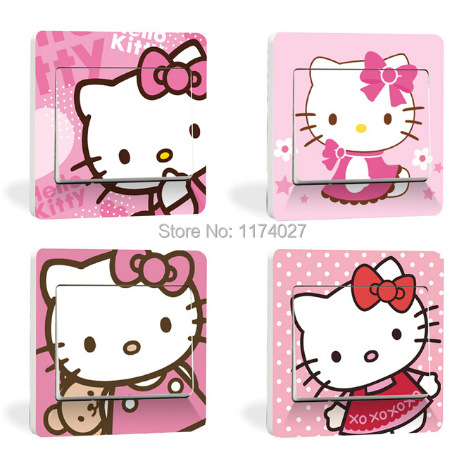 Free Shipping Hello Kitty Switch stickers cartoon small wallpaper Home decor Bedroom Parlor Decoration(China (Mainland))