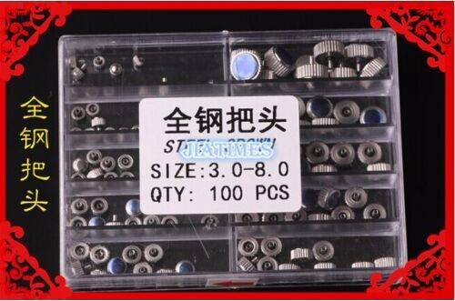 Бесплатная Доставка 100 шт. Из Нержавеющей Стали Смотреть Крон Различных Размеров 3.0-8.0 мм для Ремонта Часов