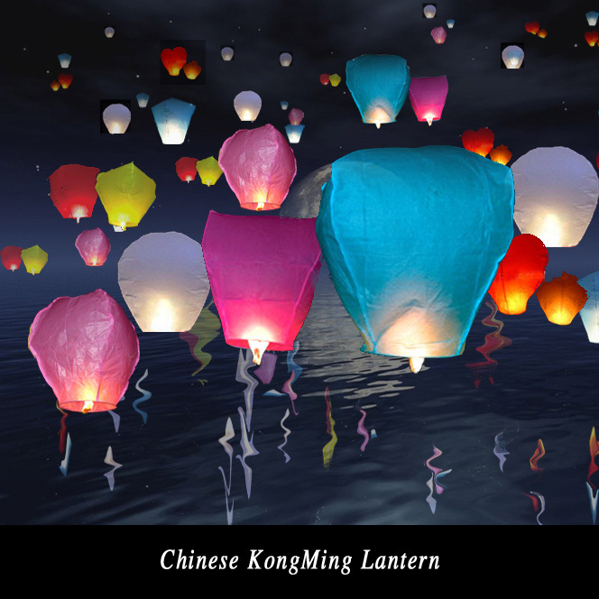 Diy 10Pcs Chineses Sky Paper Lanterns Lamps Flying Wishing Lantern Decor For Outdoor Party Decoration Balloon UFO Assorted Color(China (Mainland))