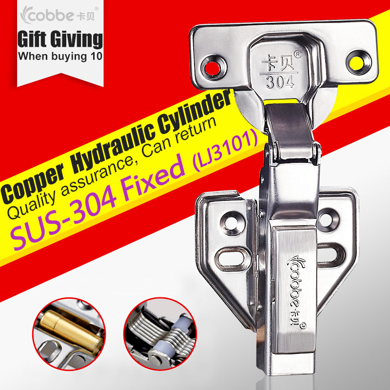 SUS-304 Stainless Hinges,furniture Accessories Hardware Cabinets Box Door Cupboard Brass Hydraulic Damper Soft Close,fixed Type(China (Mainland))