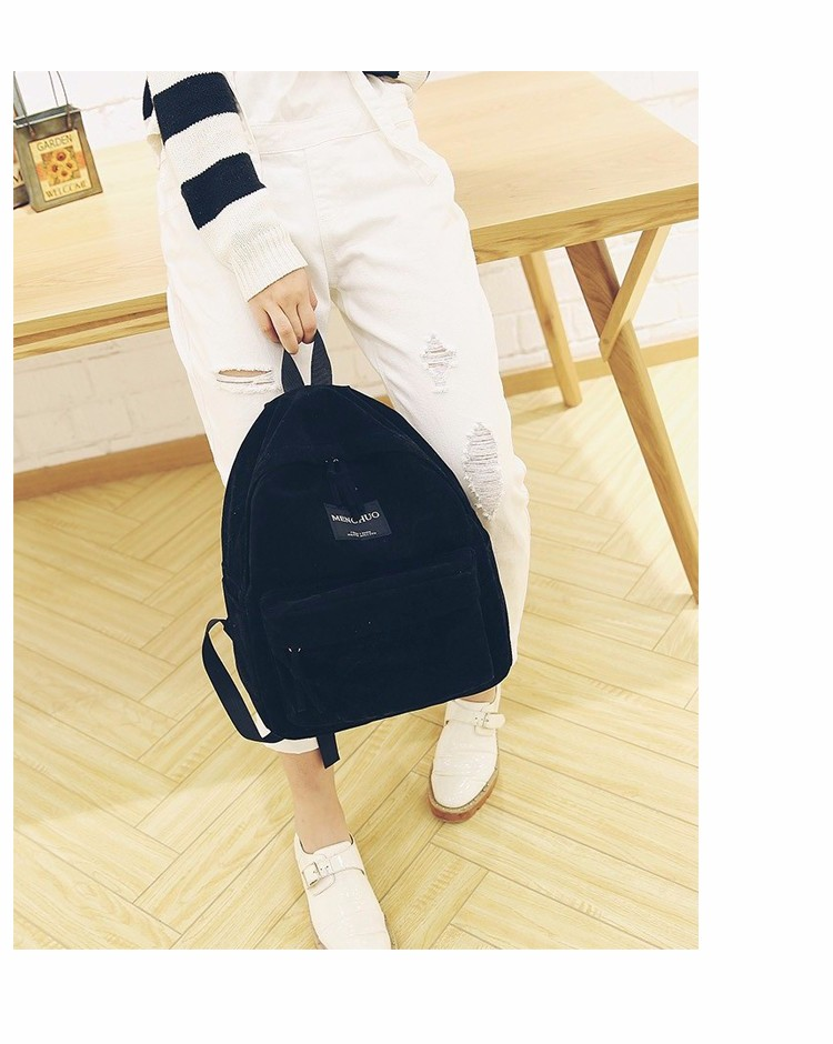 2016 New Women Backpack Preppy Style Suede Backpacks Teenage Girls School Bags Vintage Rivet Travel Backpack Burgundy Gray Black (18)