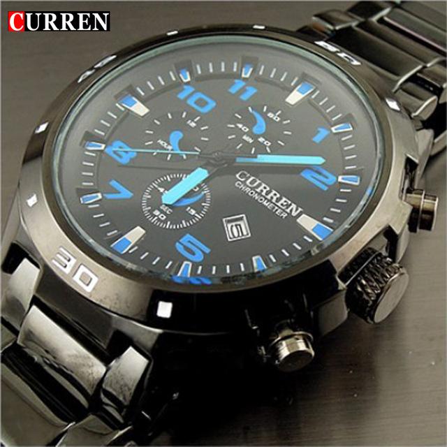 Curren марка мода часы из нержавеющей стали военный свободного покроя спорта кварцевые часы водонепроницаемые reloj relogio masculino мужской