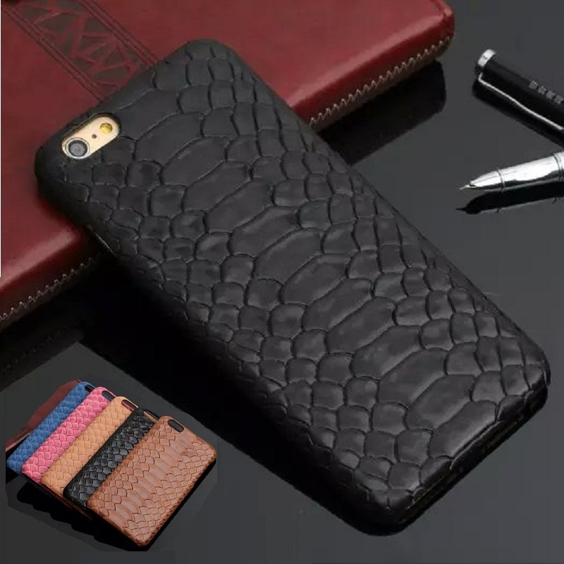 Natural Real Genuine Cow Leather Cover Case For iPhone 7 6 6S Plus 5 5S SE Case 3D Python Snake Skin Design Mobile Phone Cases(China (Mainland))