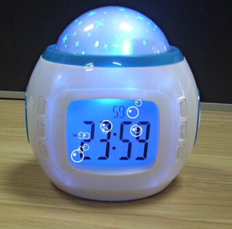 Music Starry Star Sky Projection Alarm Clock Calendar Thermometer For Best gift, whosale(China (Mainland))