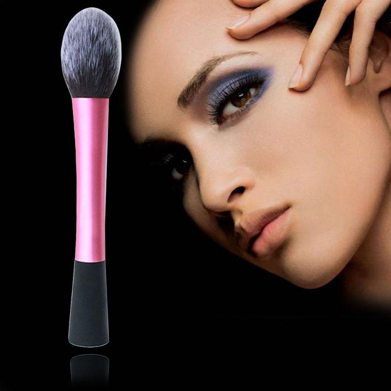 Lovely Pink Fiber Cosmetic Powder Foundation Long Aluminum Tube Brushes Cosmetics Professional Makeup Brush Set Hairbrush(China (Mainland))