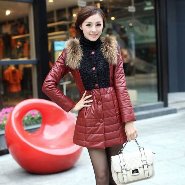 Free shipping 2013 new arrival slim medium-long fur outerwear female raccoon large fur collar leather wadded jackets 02203012097