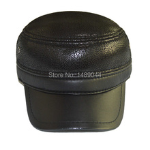 2014 Hot Sell Outdoor Free Shipping Fashion Black Leather Military Hats for Men