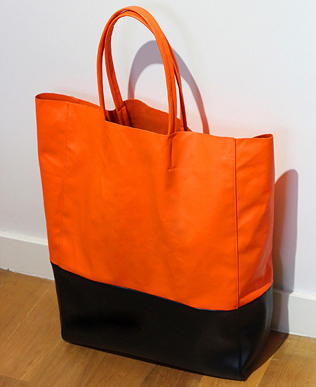 large leather tote shopper bag orange black tan leather bags(China (Mainland))