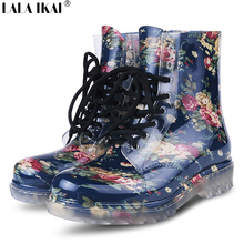 2016 Women Rain Boots Floral Print Martin Rubber Boots Spring Autumn Winter Woman Rainboots Short Tube Rubber Shoes XWN0041(China (Mainland))
