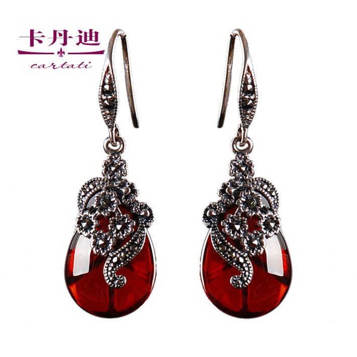 925 pure silver LAOYINJIANG thai silver red long earrings drop earring female earrings accessories<br><br>Aliexpress
