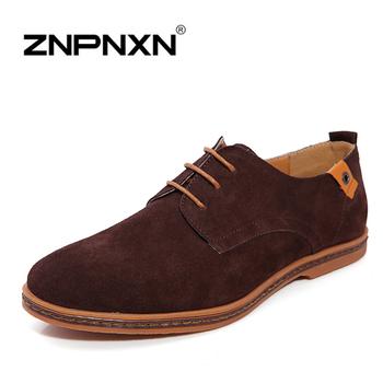 [ZNPNXNShoes] Men Genuine Leather Shoes Black Lace Up Flats Loafers Men Mocassin