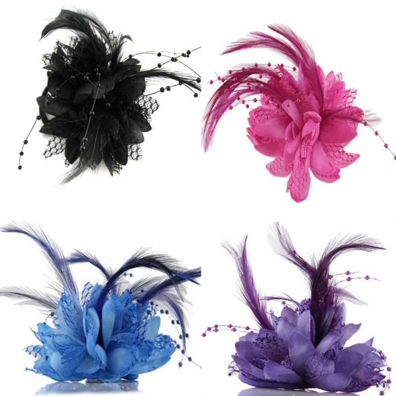 Wholesales Hot Flower Feather Bead Corsage Hair Clips Fascinator Bridal Hairband Brooch Pin(China (Mainland))