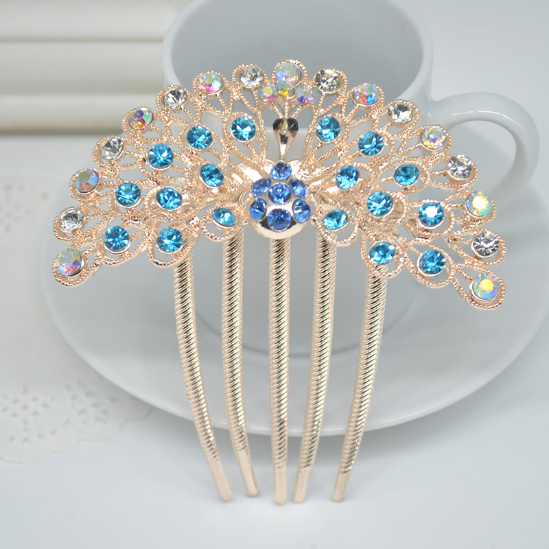 Hair Comb New arrival Hair Claw blue/purple crystal Hair Clip Pretty peacock Tail Hairpin women hair accessories gift X60*SS1099(China (Mainland))