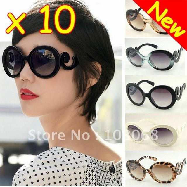 Wholesale Lots OF 10 NEW Retro-inspired Women Butterfly Clouds Arms Semi Transparent Round Sunglasses
