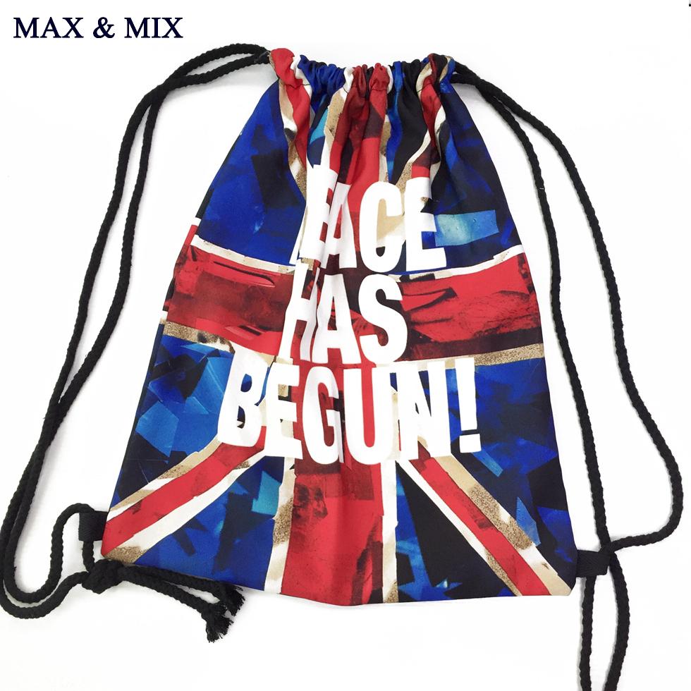 MIX&MAX Cool Fashion Designer Leisure Drawstring Bags Flag Pattern Men Women Backpack String for Unisex Leisure Travel Folding(China (Mainland))