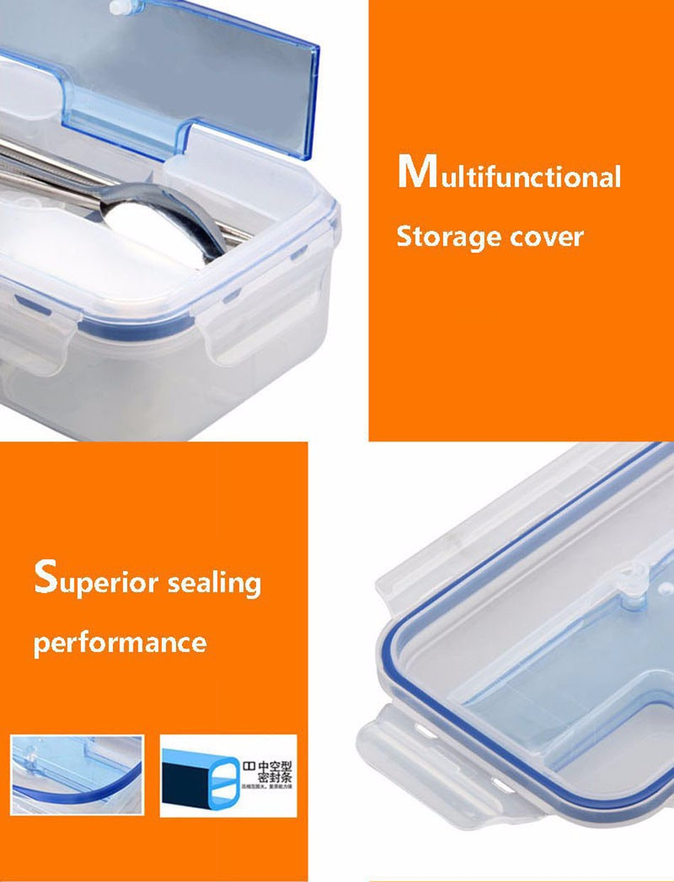 1000ml Microwave Lunch Box With Soup Bowl Chopsticks Spoon