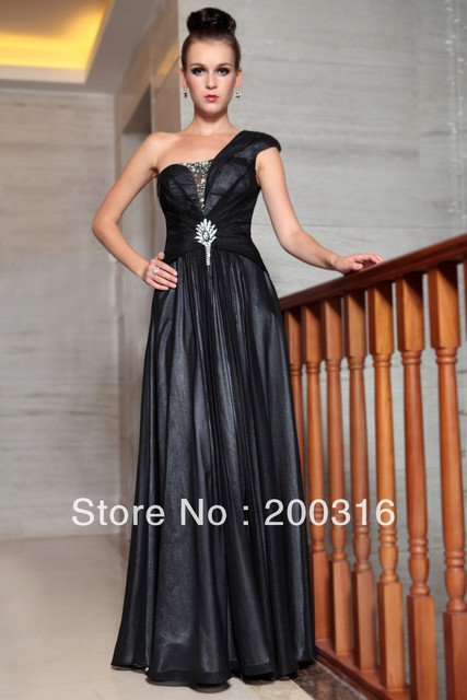 New arrival black dresses evening one shoulder embedded mesh beading formal evening dresses Free Shipping 2013 new evening dress