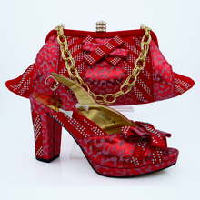 Amazing red design shoes and handbag perfect matched for for evening dress CP63008 ,free shipping(China (Mainland))