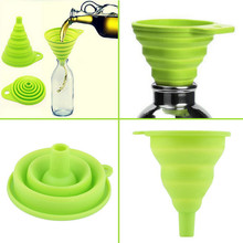 New mini Silicone Gel Foldable Collapsible Style Funnel Hopper Kitchen cozinha cooking tools Accessories gadgets outdoor(China (Mainland))