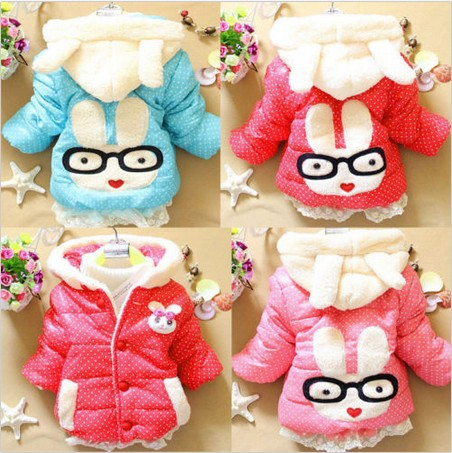 2014 new fashion Baby Kids Girls Outwear Jacket Snowsuit Coat Winter Clothes Rabbit Bunny Outer hot sell(China (Mainland))