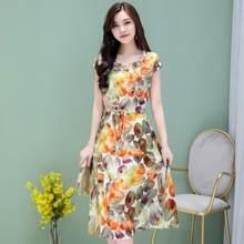 Новинка 2019 женское летнее платье среднего возраста плюс Размер 6XL свободное элегантное платье с коротким рукавом для мамы Хлопковое платье ...(China)