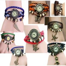20pcs indian ethnic Leather Bracelets Watch butterfly leaf eiifel starfish charm Vintage wristwatch wholesale LOT(China (Mainland))