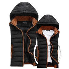 New 2014 Winter Casual Thick Vest Men High Quality Hooded Four Colors Colete Masculino Slim Cotton-padded Lovers' Waistcoat