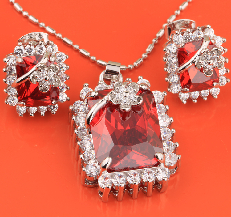 Rectangle Flowers Good-Looking Red Garnet White Topaz Silver Jewelry Sets Earrings Pendant S8152(China (Mainland))