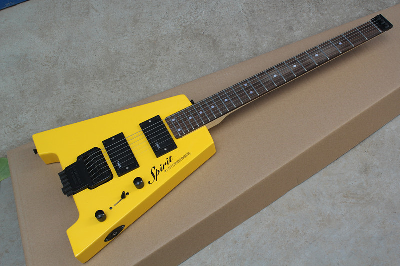 Factory custom Steinberger Spirit Rosewood fingerboard 24 frets yellow electric guitar without headstock,can be customized(China (Mainland))