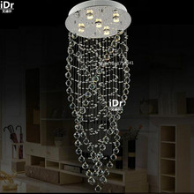 Duplex LED Luxury lamp ring light stairway crystal lamp screw lamp creative fashion restaurant Chandeliers Dia500xH1300mm(China (Mainland))