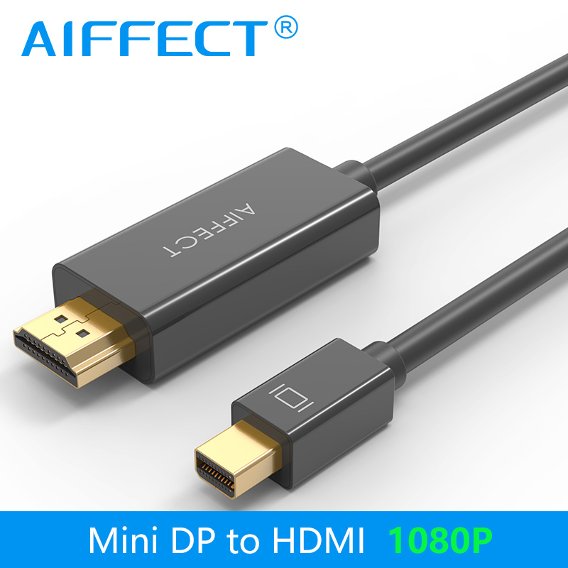AIFFECT Mini DP to HDMI Cable DisplayPort Thunderbolt Port HDMI 1080P for Macbook Pro Air Projector Camera TV Support 3D 4888(China (Mainland))