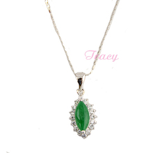 Slim 1mm Mens Womens Green Semi precious Stone Pendant+ Optional 18k White Gold Filled Necklace Chain(China (Mainland))