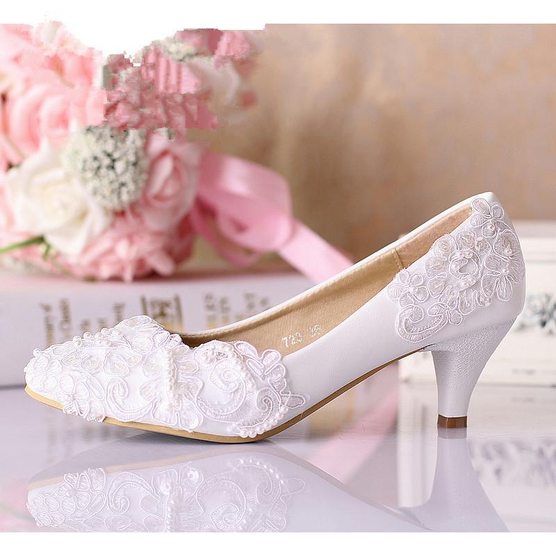 5cm white lace wedding shoes women formal dress shoes for Comfortable wedding dress shoes
