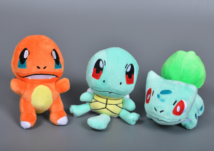 15cm Pokemon Snivy Charmander Ash's Bulbasaur Squirtle Stuffed Animals Plush Soft Mini diy fun toys for children hot sale(China (Mainland))