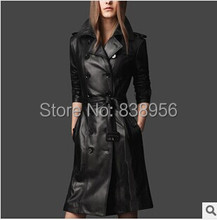 2015 Spring & Winter Fashion Women Luxury Black Pu Leather Trench Super Slim Double Breasted Turn Down Collar Coat Female S-XXXL(China (Mainland))