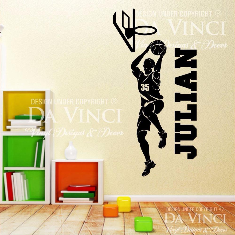 Basketball Art Pvc Wall Sticker Personalized Custom Boy Name Basketball Player Wall Decal Sport