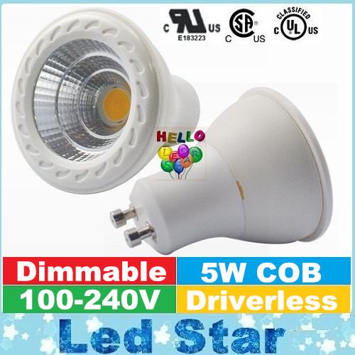 5W Samsung COB Driverless Led Bulb GU10 Spotlights Dimmable Led Lights Bulbs 550 Lumens AC 110V 220V 240V Warranty 5 Years(China (Mainland))