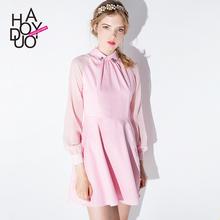 Party Dresses Vestidos De Festa Long Dress Haoduoyi2015 Autumn New Elegance Mosaic Lantern Sleeve Collar Beaded Dress Slim A