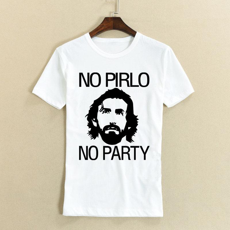 Logo Printed NO PIRLO NO PARTY Andrea Juventus Men T Shirts Round Neck Short Sleeve Vintage Sports t-shirts Popular Casual Tees(China (Mainland))