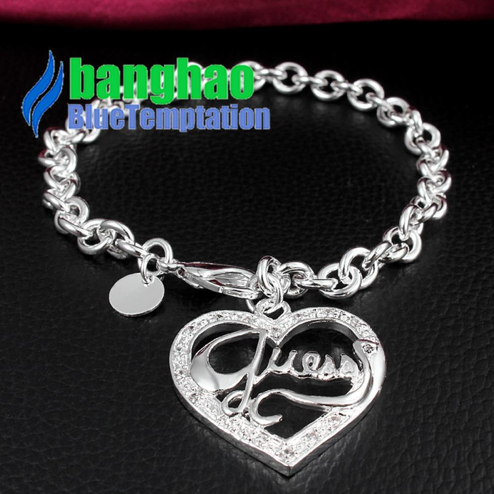2016 Girls Trendy Direct Selling New Arrival Jewelry Brand Hand Zircon Peach Heart Bracelet H222 Sterling Pulseras Hombre Femme(China (Mainland))