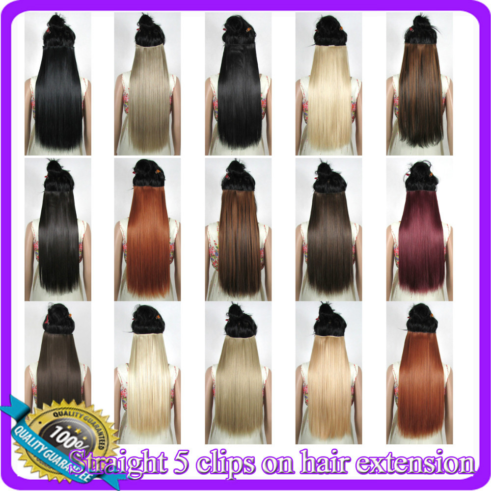 """24""""(60cm) 120g straiht clip in synthetic hair extensions hairpiece hair pieces accessories 40 Colors available(China (Mainland))"""