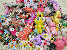 Free shipping 60pcs/lot Lovely Animal Button Doll Key Chain Phone Chain  Cloth Puppet Mini Alien Pendant, Many Style, Handmade(China (Mainland))